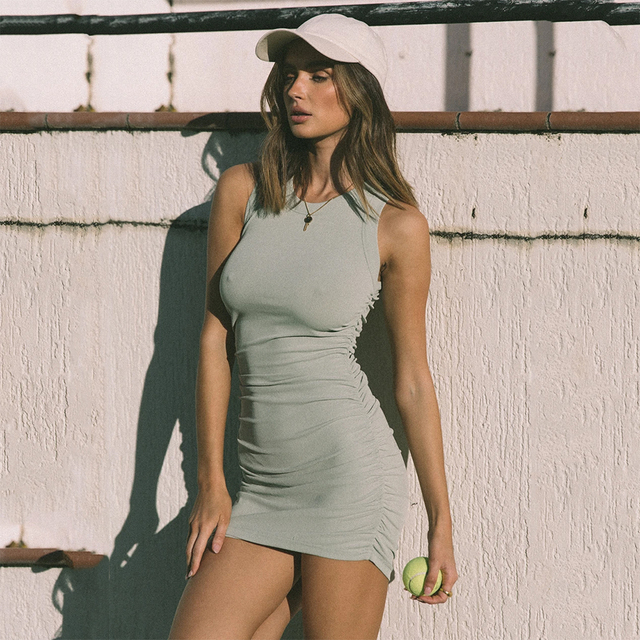 Women Solid Sleevess Dress Summer Casual Fashion Ruched One Piece Dress Stylish Stretchy Dress Sexy Bodycon Party Clothes 3