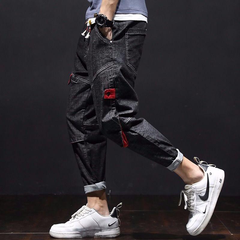 2020 High - Waist Drawstring Jeans Men's Tide Brand Large Size Loose Elastic Trim Small Feet Casual Pants Harlan Pants Men.