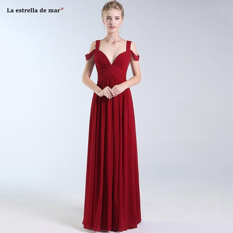 Vestidos de festa new chiffon sexy V neck high slit A Line burgundy   bridesmaid     dresses   long sukienka druhna pretty
