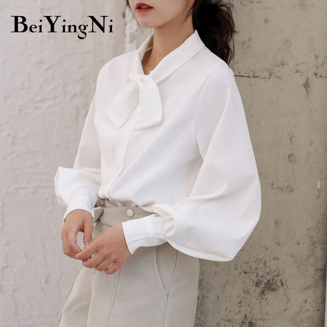 Beiyingni Fashion Casual Bow Tie Blouses Womens Tops Oversized Vintage Solid Color Shirts Female Autumn Winter Long Sleeve Blusa 1