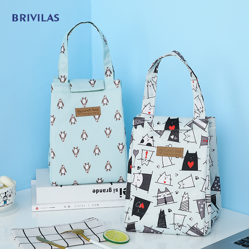 Brivilas Lunch Bag Fashion Ctue Cat Multicolor Cooler Bags Women Waterpr Hand Pack  Thermal Breakfast Box Portable Picnic Travel