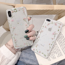 Glitter Real Flowers Dried Flower Phone Case for iP