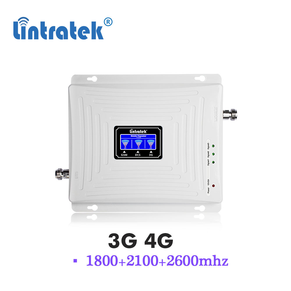 Lintratek 3G 4G 1800 2100 2600 UMTS WCDMA 2100MHz Repeater LTE 1800MHz 2600MHz B7 Mobile Phone Signal Amplifier Booster S9