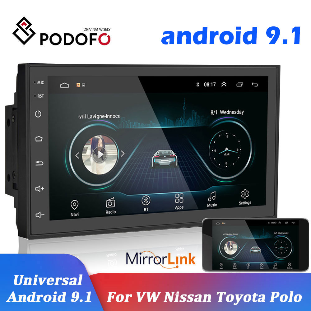 Podofo-radio samochodowe, 2 din, 7 cali, Android z nawigacją głosową, uniwersalny odtwarzacz samochodowy, 2,5 D, GPS, nawigacja głosowa, Volkswagen, Nissan, Hyundai, Kia, Toyota