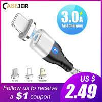 CASEIER magnético Cable Usb para iPhone Samsung S10 tipo C Cables 3 tipos de Cable de carga usb tipo c carga magnética
