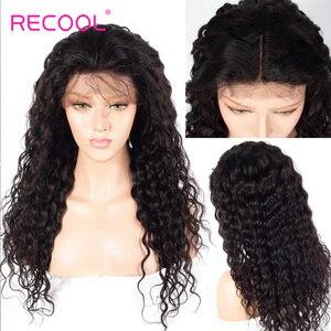 Image 4 - Recool Peluca de cabello humano brasileño con cierre de 6x6, ondas al agua, densidad del 250, encaje Frontal 13x6, parte profunda, encaje rizado