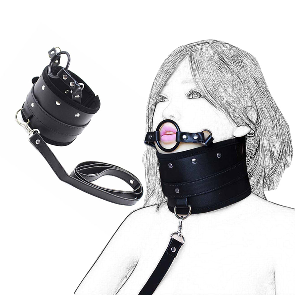 Leather Harness Neck <font><b>Collar</b></font> Bdsm And Leash Neck <font><b>Dog</b></font> <font><b>Collar</b></font> With Mouth Ball Gag Fetsih Bondage Restraint <font><b>Sex</b></font> Adult Games Toys image