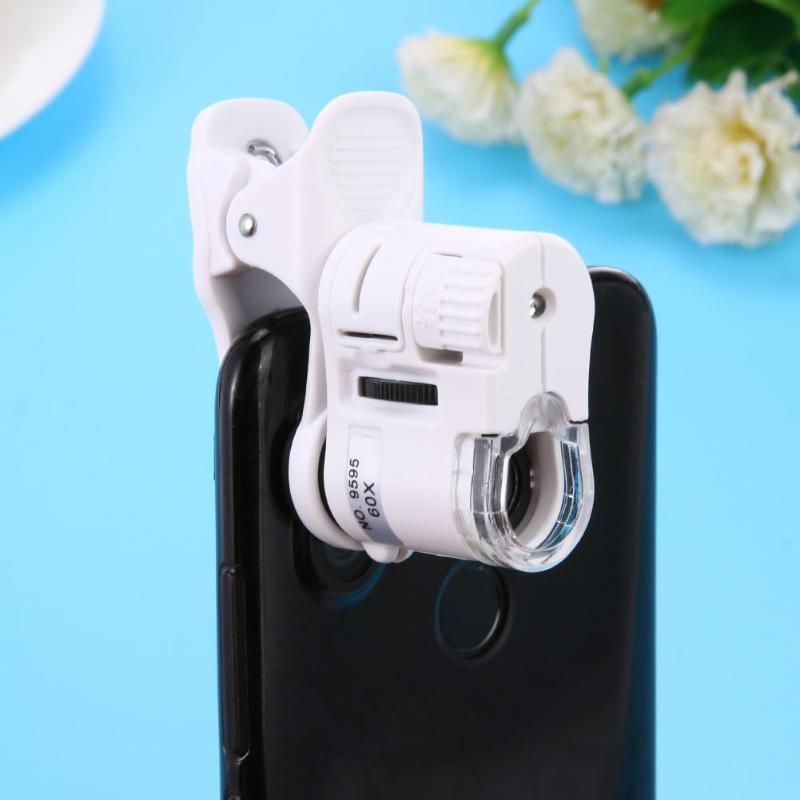Mobile Phone Microscope Universal 60X Macro Lens Zoom Micro Camera Clip With Micro Camera Clip With Optical Magnifier LED Light