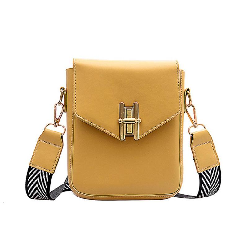 2019 New Pattern  Women Inclined Shoulder Packs Solid Color Women Crossbody Bag Fashion Wide Shoulder Strap Flap Messenger Bags