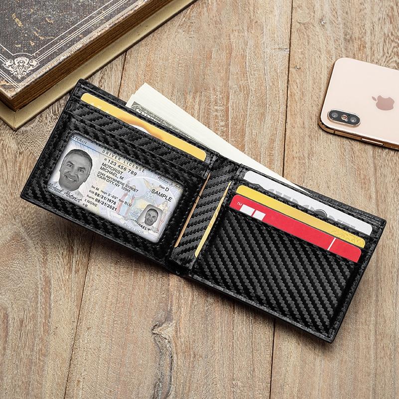 BISI GORO Carbon Fiber Pattern Smart Wallet RFID Money Bag Slim Wallet For Men Purse Carteira High Quality Credit Card Holder