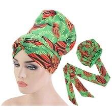 Африканские капот атласной капоты волос для женщин двойных слоев колпак выкройка Анкара шелковистой тюрбан шляпа с длинной лентой обернуть ТБ-77F