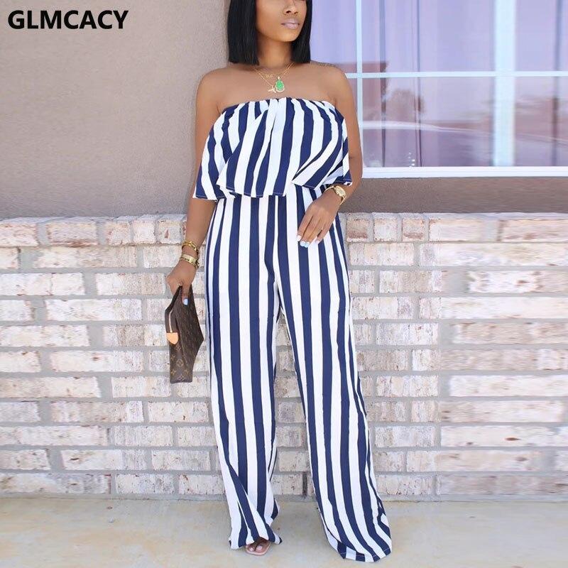 Women Off Shoulder Striped Jumpsuits Summer Backless Wide Leg Casual Overalls Elegant Workwear