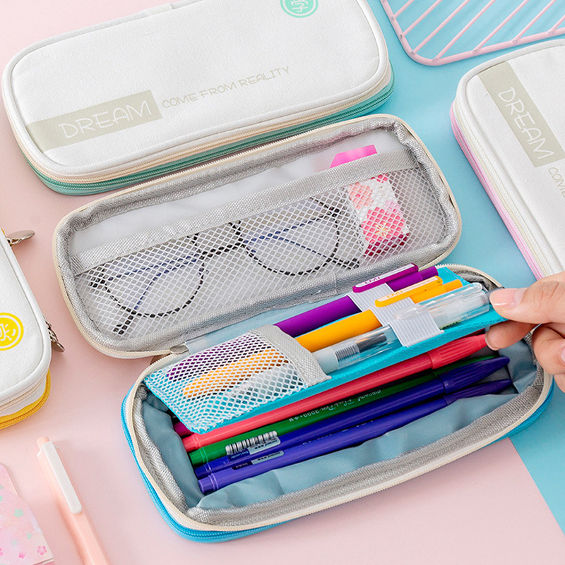 Macaron Color Canvas Pencil Case Kawaii Stretch Double Layer Large Capacity Pencil Box Cute Kids School StationeryPencilcase
