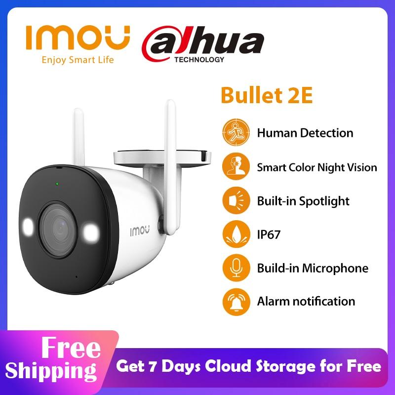 Dahua Imou-cámara de visión nocturna a todo Color Bullet 2E 1080P, WiFi, exterior, impermeable, seguridad del hogar, cámara Ip de detección humana