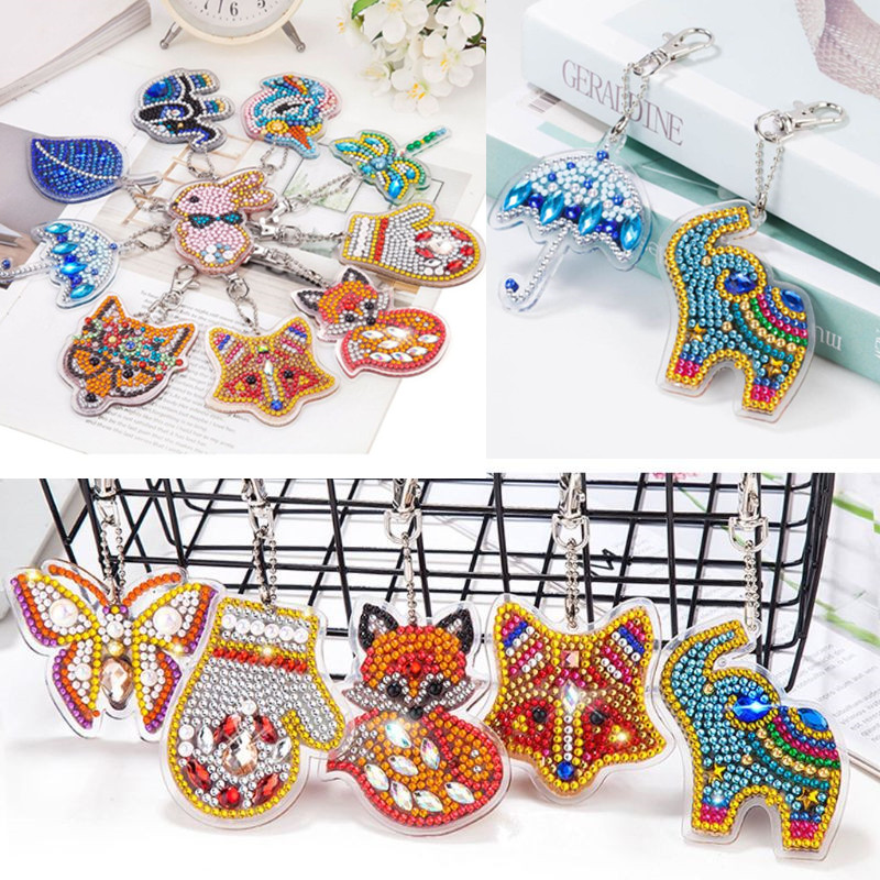 Handmade 5D Mosaics Keychains Diamond Painting Pendant Kits DIY Full Drill Diamond Painting Key Ring Gift Bags Decor