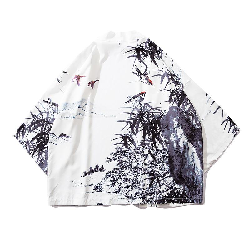 Asian Japanese Fashion Kimono Haori Cardigan Men Summer Thin Sunscreen Beach Holiday Wear Male Oriental Cloak Coat Robe