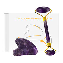 Natural Amethyst Jade Roller Gouache Scraper Purple Crystal Face Massager Jade Roller GuaSha Scraping Facial Massage with Box(China)