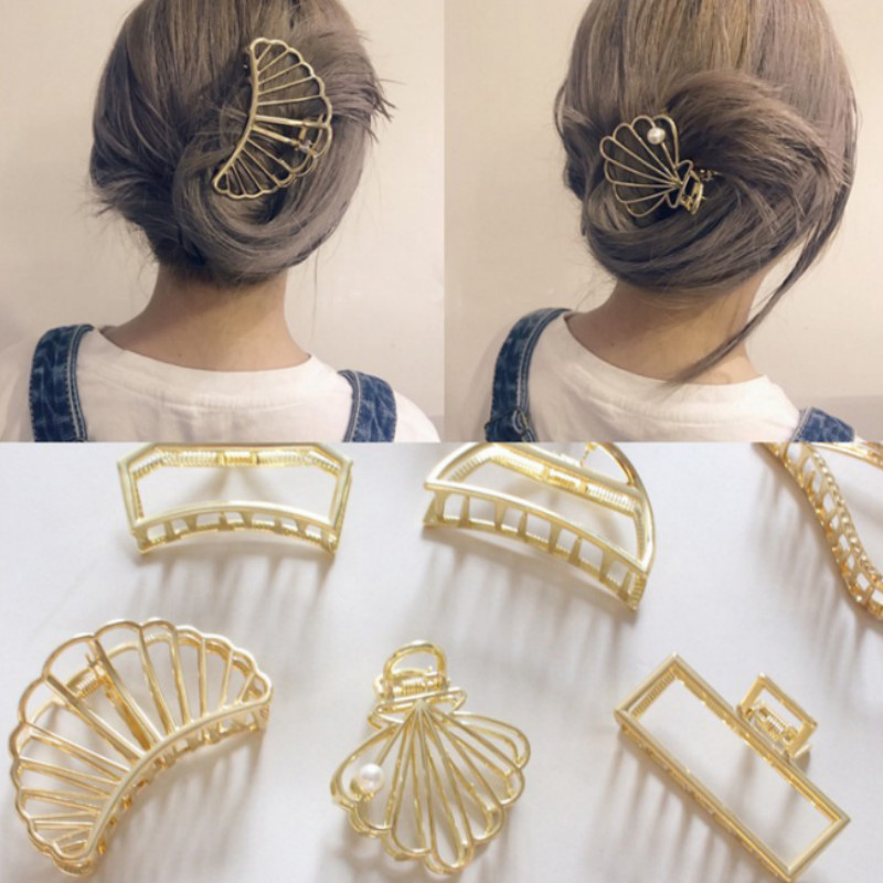 1Pcs Vintage Hair Claw Hair Clips Metal Gold Fashion Hair Accessories For Women Clamps Hair Crab Modern Stylish Pony Tail Holder
