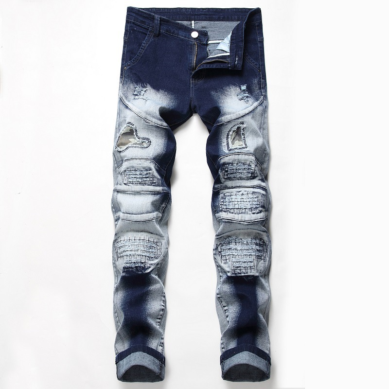 Men's New European And American Jeans Men's Patch Hole Patch Stretch Jeans Men's Pants Robin Jeans Stretch Ripped Jeans For Men