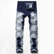 Mens New European and American Jeans Patch Hole Stretch Pants Robin Ripped for Men