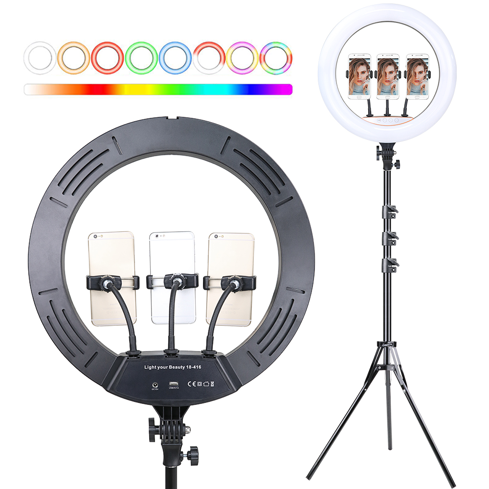 18 inch 45 cm RGB Ring Light with Phone Clip Holder Stand Selfie Colorful Photography Lighting for Video Lives Youtube Ring Lamp