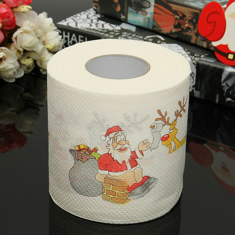 1Roll Santa Claus Printed Toilet Roll Paper Merry Christmas Toilet Paper Christmas Decor High Quality Tissue
