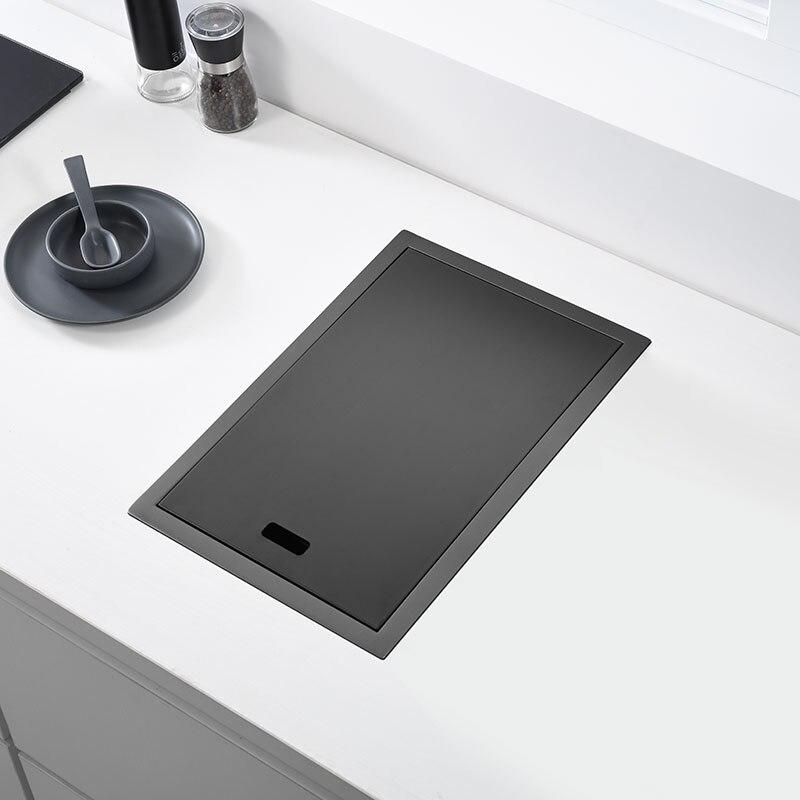 Escondida preta pia da cozinha bacia única, barra de pia de cozinha escondida pequena pia de aço inoxidável preto com varanda, pia escondida da cozinha