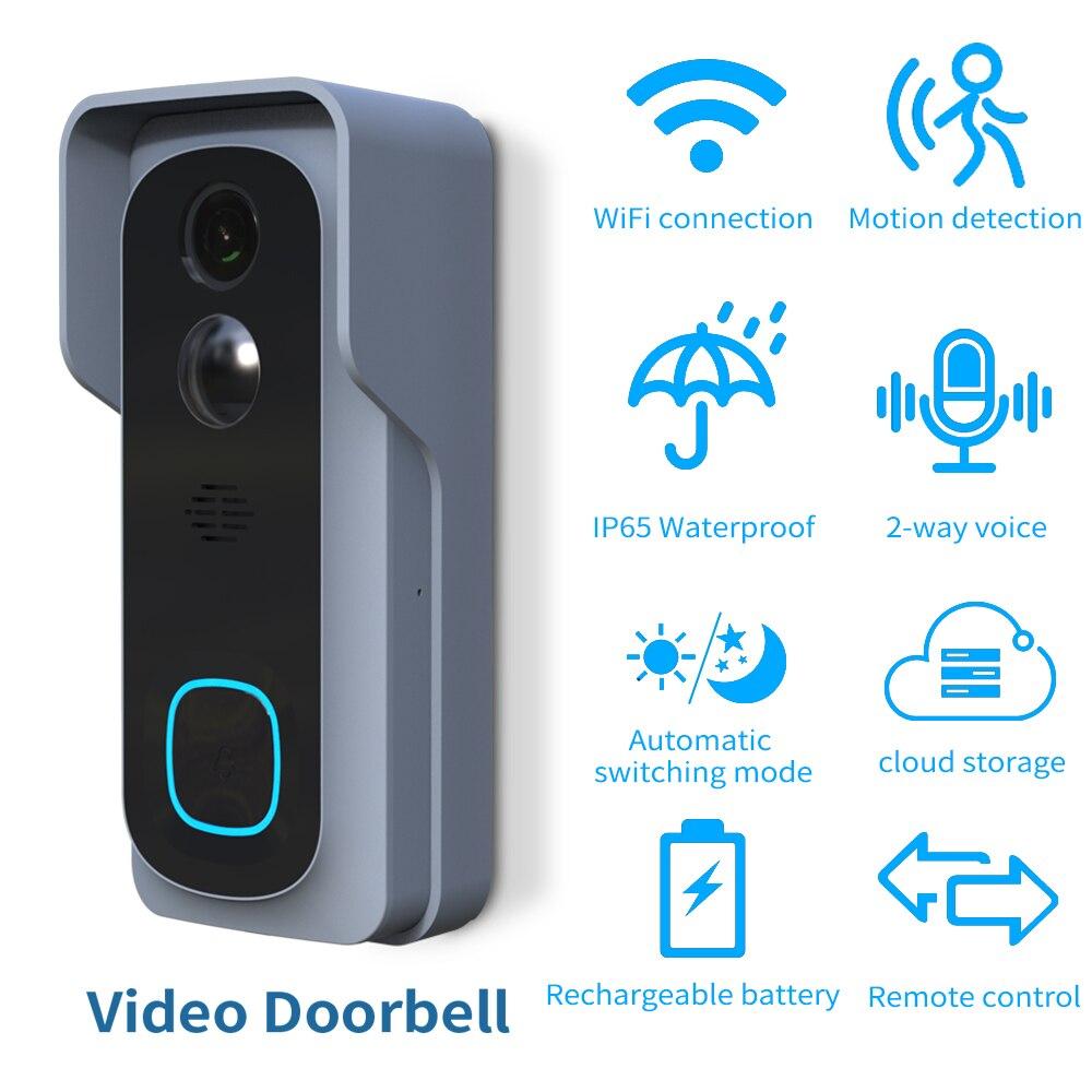 HD 1080P 100% Wireless Wifi Video Doorbell IP Security Smart Batterry Camera Intelligent Home Night Vision PIR Motion Detector