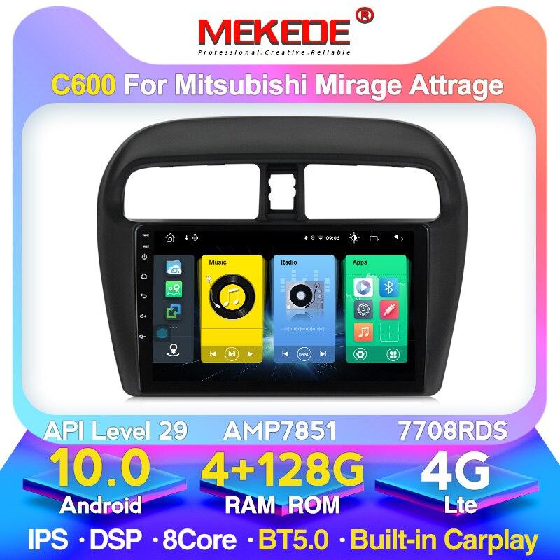MEKEDE-Radio Multimedia SWC IPS para coche, Radio con reproductor, Android 10, GPS, DVD, WIFI, OBD, para Mitsubishi Mirage Attrage 2009-2016