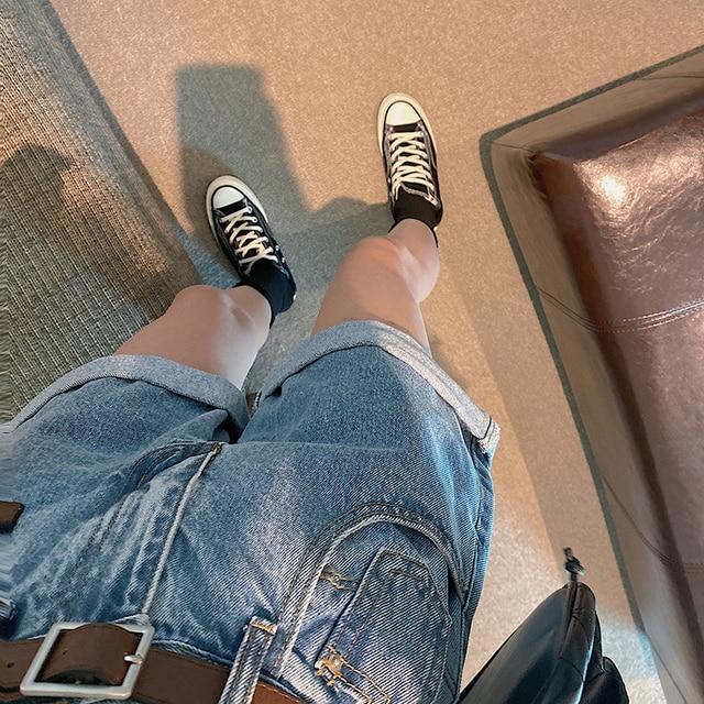 FINEWORDS Classic Washed Blue High Waist Shorts Jeans Women 2021 Summer Beach Denim Shorts Korean Casual Wide Leg Shorts Cuff 4