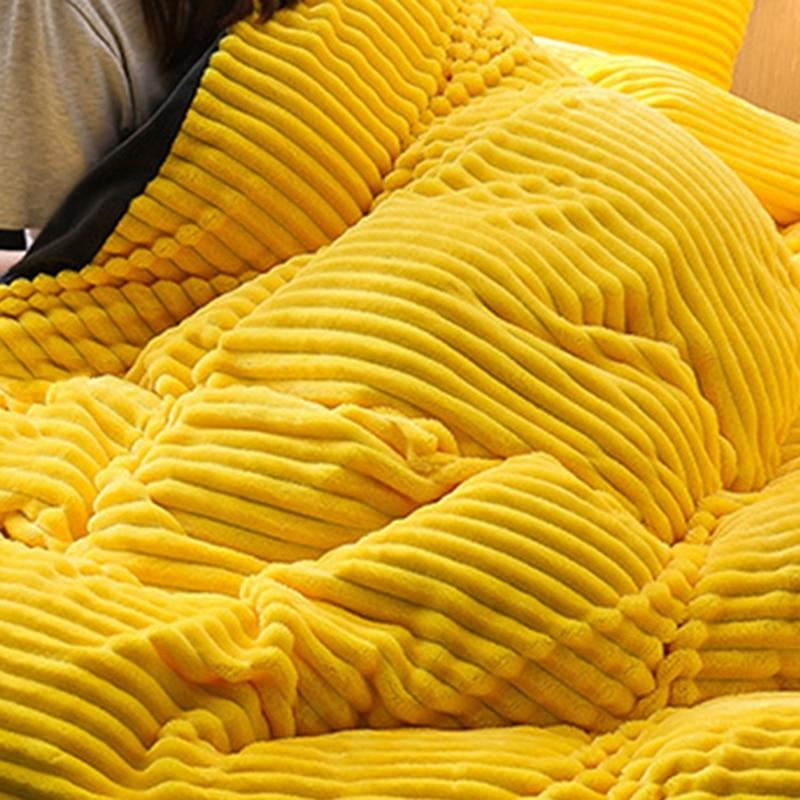 Funda de edredón de Navidad única, gruesa lana de Coral de cuatro piezas de lana de invierno de franela de cristal cama de edredón mágico sábanas - 4