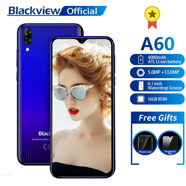 Blackview A60 Smartphone Quad Core Processor 4080mAh Battery Cellphone 16GB 6.1 inch 19.2:9 Screen Dual Camera 3G Mobile Phone