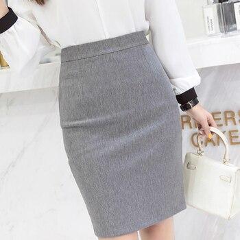 Faldas Mujer Moda 2021 Skirts Womens High Waist Office Ladies Pencil Skirt 3XL  Women Skirt Gray Black Red Skirt C99 1