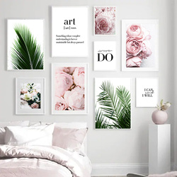Pink Flowers Peony Palm Leaf Quotes Landscape Wall Art Canvas Painting Nordic Posters And Prints Wall Pictures For Living Room