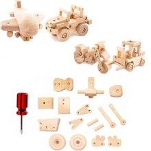Boy wooden assembly disassembly shovel car plane motorcycle model children DIY hands-on puzzle education toy kid gift plaything цена в Москве и Питере