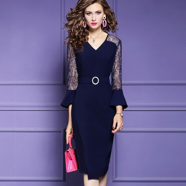 spring 2020 new sexy Womanliness dress Full Sleeve Lace Women celebrities Party Dress Plus Size Vintage Solid Business dresses
