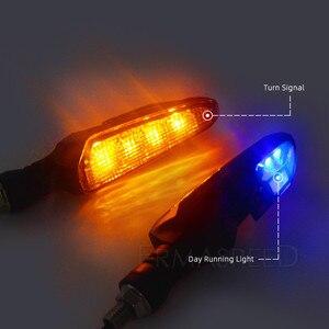 Image 2 - Para motocykl LED kierunkowskazy ABS plastikowe bursztynowe migające Cafe Racer lampa ostrzegawcza DRL wskaźnik migacz dla Yamaha r6 r1 mt 07
