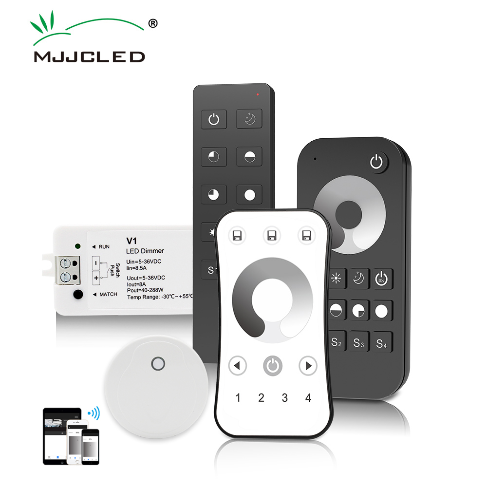 <font><b>LED</b></font> <font><b>Dimmer</b></font> Switch 12V 24V PWM 2.4G <font><b>LED</b></font> Touch RF Wireless <font><b>Remote</b></font> 5V 36V Smart Wifi <font><b>Dimmer</b></font> Controller for Single Color <font><b>LED</b></font> <font><b>Strip</b></font> image