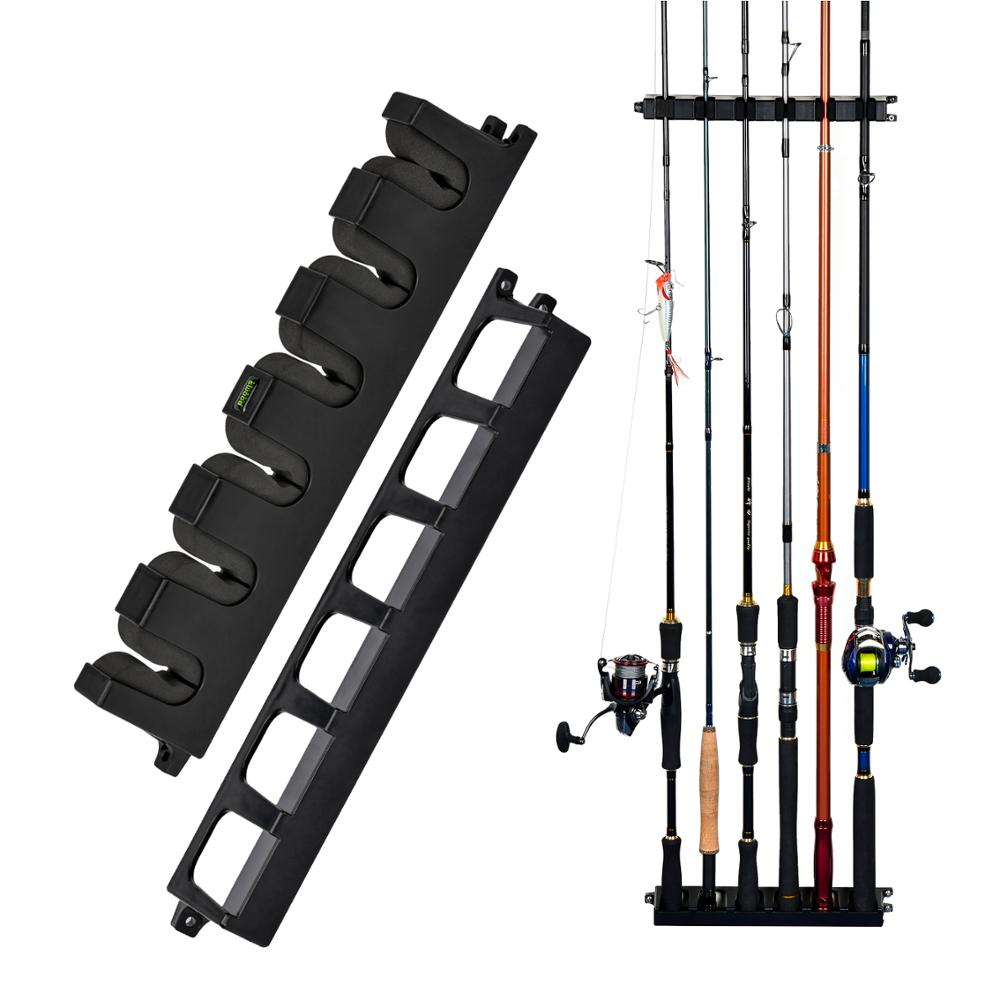 Booms Fishing WV2 Vertical 6-Rod Rack Fishing Pole Holder Rod Holders Wall Mount Modular For Garage