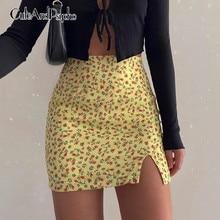 Floral Printed Women's Mini Dress Summer Sexy Split Skinny Slim Bodycon Skirt St
