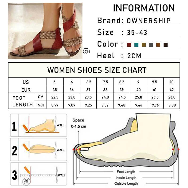 2020 kadın sandalet kadın roma kenevir takozlar bayanlar fermuarlar ayakkabı yaz kadın rahat karışık renkler ayakkabı artı boyutu
