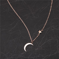 Simple Joker hollow stars moon necklace female short chain fashion sweet Korea titanium steel jewelry ins style