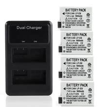 1900Mah 7.4V LP-E8 LPE8 Lp E8 Batterij Batterie Met Lcd Dual Charger Voor Canon Eos 550D 600D 650D 700D X4 X5 X6i X7i T2i T3i