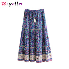 Boho Chic Summer Vintage Floral Print Lace Patchwork Maxi Skirt Women 2019 Fashion Elastic Waist Drawstring Tassel Beach Skirts