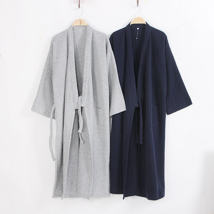 Traditional Men's Cotton Japanese Kimono Cardigan Robe Autumn Winter Air Layer Thicken Bathrobes Home Steaming Clothes Homewear