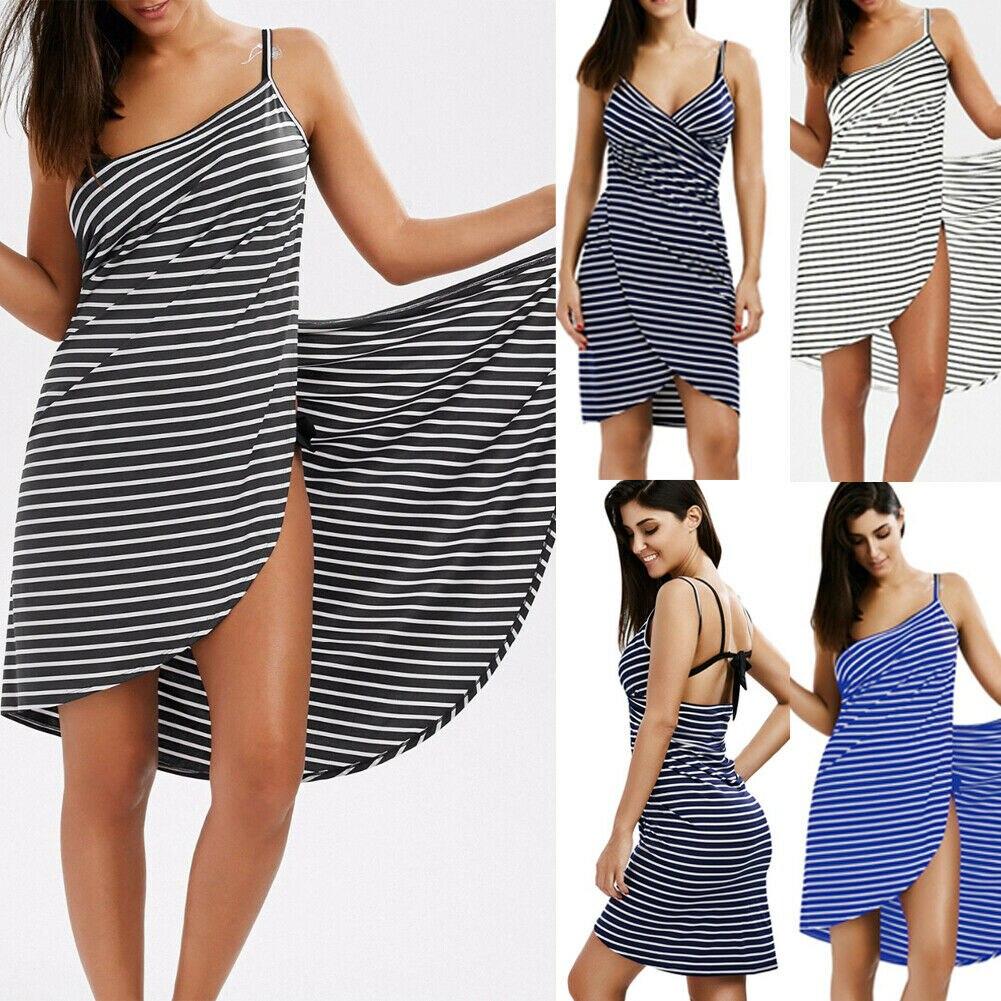 Toalla textil para el hogar, batas de baño para mujeres, vestido de toalla a rayas, vestido para niñas, ropa de dormir mágica para Spa de playa de secado rápido para mujeres