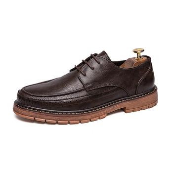 Męskie buty skórzane typu oksfordy brytyjskie czarne brązowe buty ręcznie wygodne wizytowe płaskie buty męskie sznurowane Bullock 39-44 * TD939 tanie i dobre opinie EUDILOVE CN (pochodzenie) PRAWDZIWA SKÓRA Skóra bydlęca Dobrze pasuje do rozmiaru wybierz swój normalny rozmiar Stałe