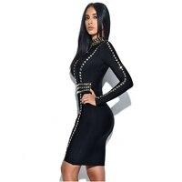 LEGER BABE Rivets Bodycon Vestidos Women Black Bandage Dress Full Long Sleeves O Neck Mini Celebrity Party Vestidos Dress