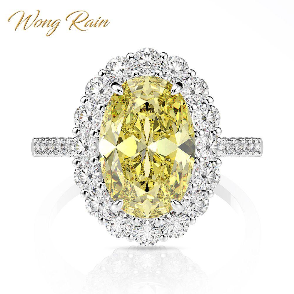 Wong Rain Luxury 925 Sterling Silver Created Moissanite Citrine Sapphire Gemstone Wedding Engagement Ring Fine Jewelry Wholesale