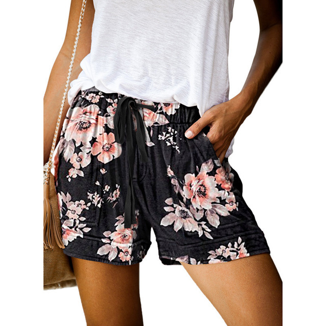Casual Shorts Women New Summer High Waist Lace Up Pocket Loose Wide-leg Shorts Ladies Leopard Floral Shorts Plus Size 5XL Shorts 4